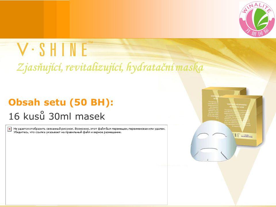 Obsah setu (50 BH): 16 kusů 30ml masek Zjasňující, revitalizující, hydratační maska