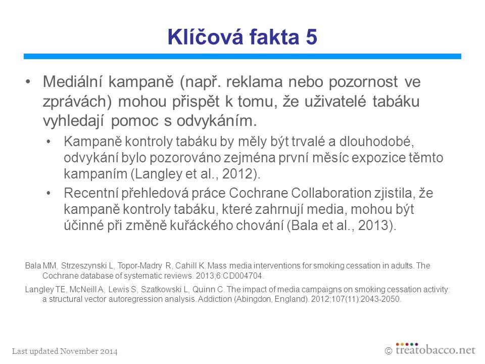 Last updated November 2014  Klíčová fakta 5 Mediální kampaně (např. reklama nebo pozornost ve zprávách) mohou přispět k tomu, že uživatelé tabáku vyh