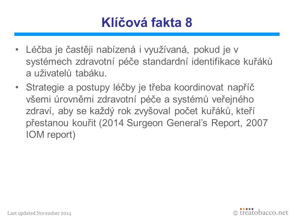 Last updated November 2014  Klíčová fakta 8 Léčba je častěji nabízená i využívaná, pokud je v systémech zdravotní péče standardní identifikace kuřáků