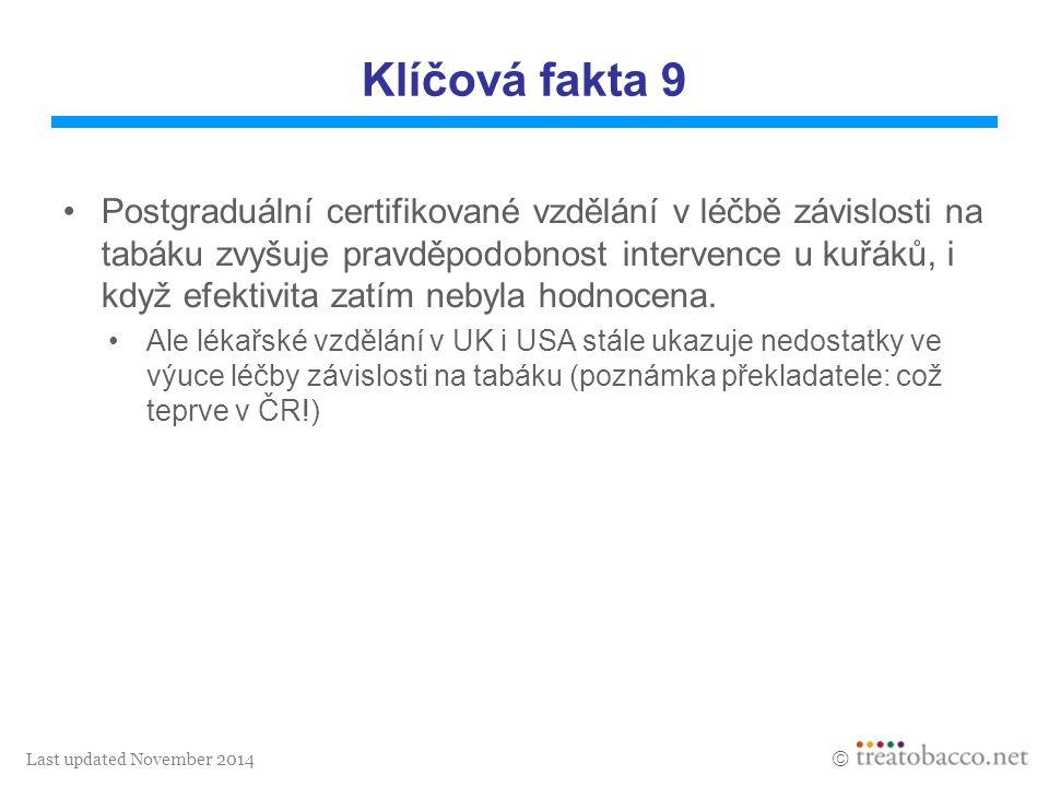 Last updated November 2014  Klíčová fakta 9 Postgraduální certifikované vzdělání v léčbě závislosti na tabáku zvyšuje pravděpodobnost intervence u ku