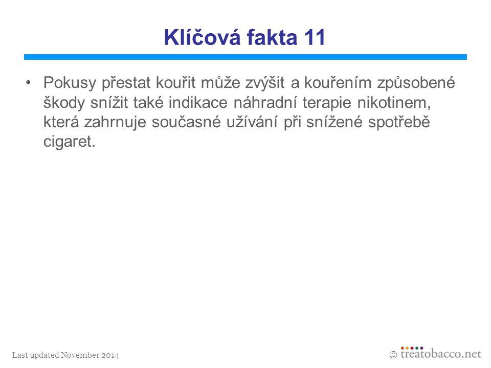 Last updated November 2014  Klíčová fakta 11 Pokusy přestat kouřit může zvýšit a kouřením způsobené škody snížit také indikace náhradní terapie nikot