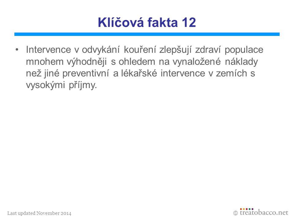 Last updated November 2014  Klíčová fakta 12 Intervence v odvykání kouření zlepšují zdraví populace mnohem výhodněji s ohledem na vynaložené náklady