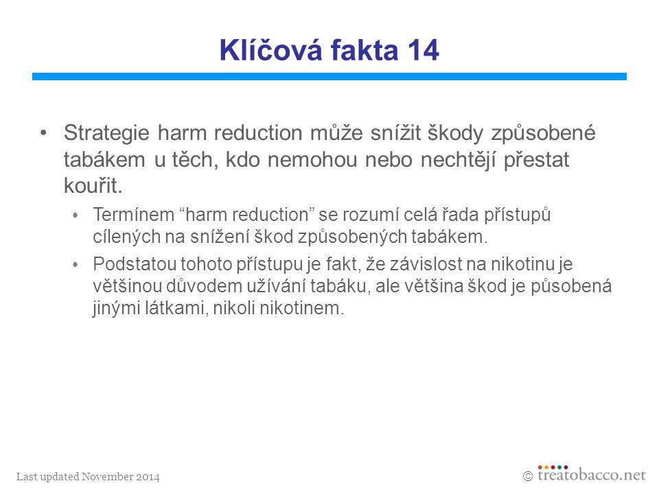 Last updated November 2014  Klíčová fakta 14 Strategie harm reduction může snížit škody způsobené tabákem u těch, kdo nemohou nebo nechtějí přestat k