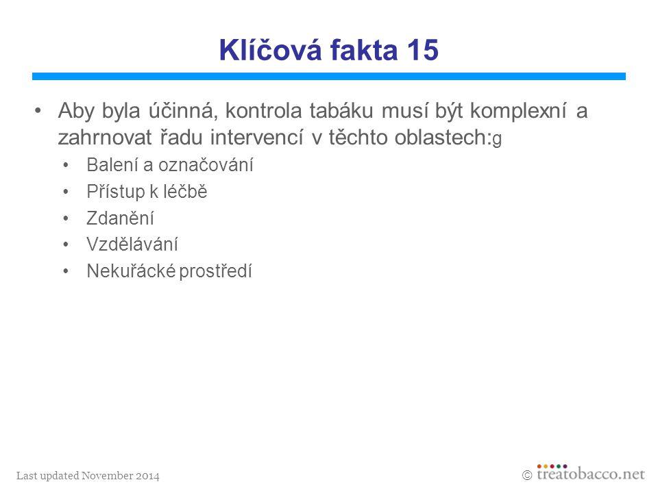 Last updated November 2014  Klíčová fakta 15 Aby byla účinná, kontrola tabáku musí být komplexní a zahrnovat řadu intervencí v těchto oblastech: g Ba