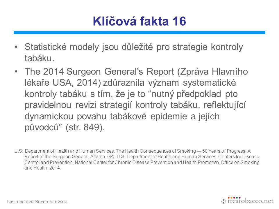 Last updated November 2014  Klíčová fakta 16 Statistické modely jsou důležité pro strategie kontroly tabáku. The 2014 Surgeon General's Report (Zpráv