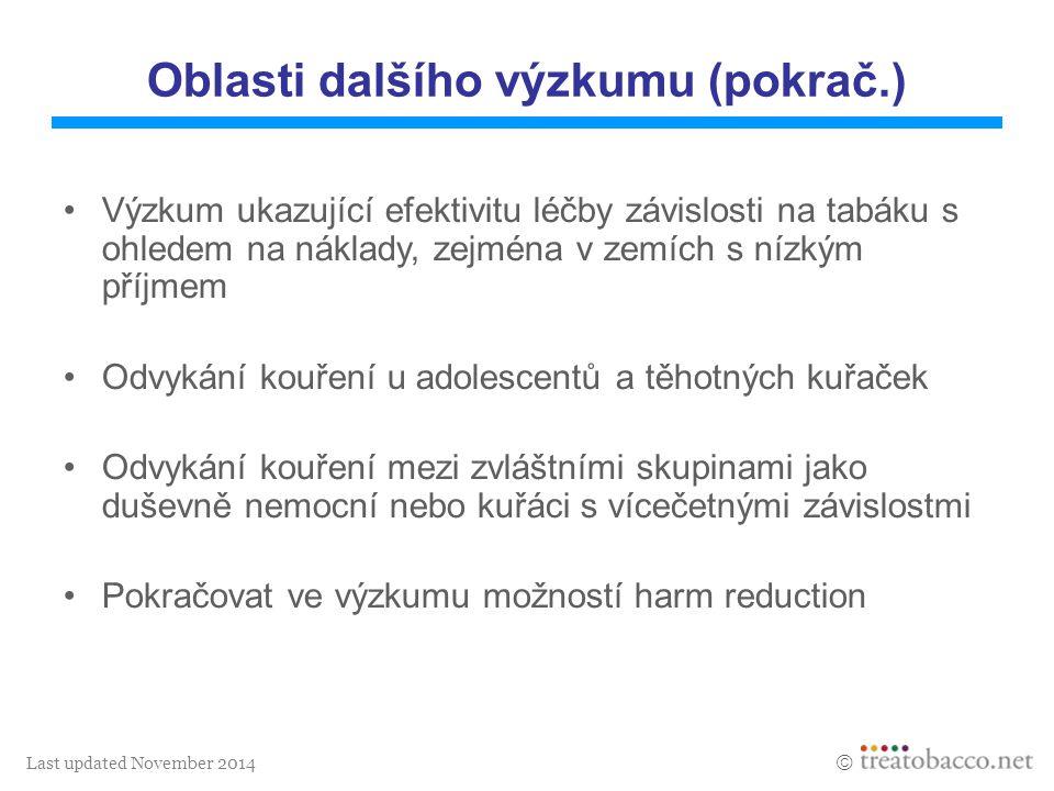 Last updated November 2014  Oblasti dalšího výzkumu (pokrač.) Výzkum ukazující efektivitu léčby závislosti na tabáku s ohledem na náklady, zejména v
