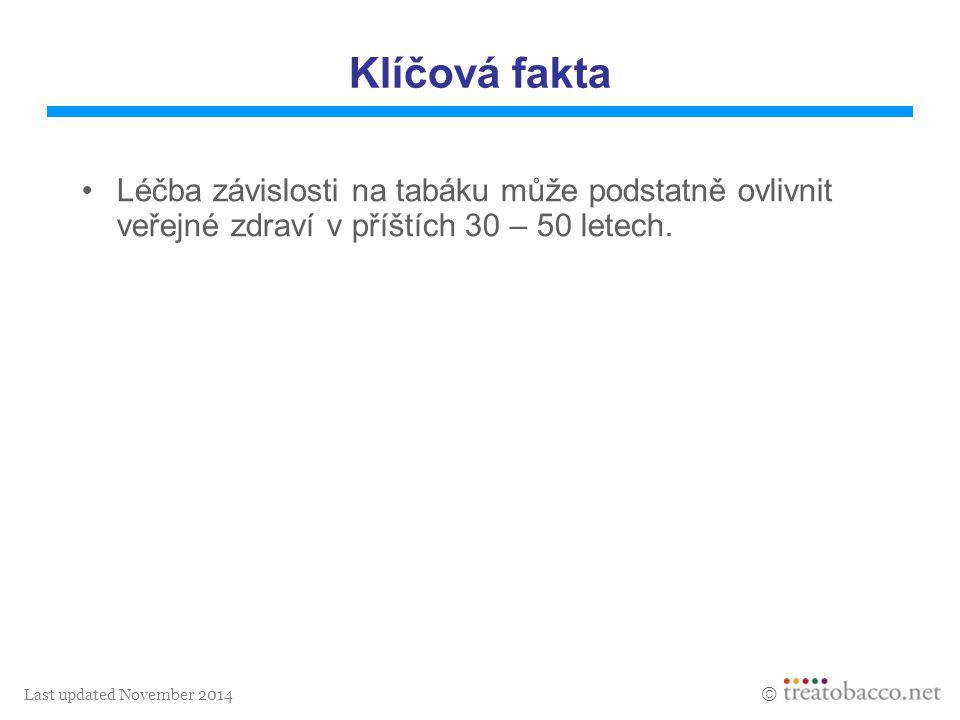 Last updated November 2014  Klíčová fakta Léčba závislosti na tabáku může podstatně ovlivnit veřejné zdraví v příštích 30 – 50 letech.
