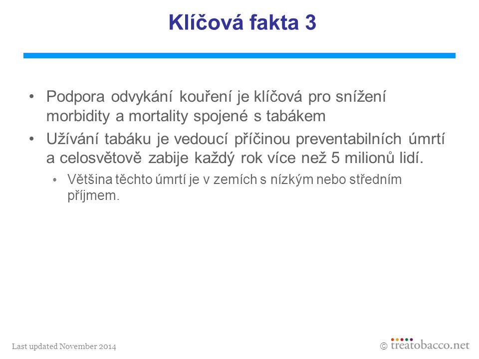 Last updated November 2014  Klíčová fakta 3 Podpora odvykání kouření je klíčová pro snížení morbidity a mortality spojené s tabákem Užívání tabáku je