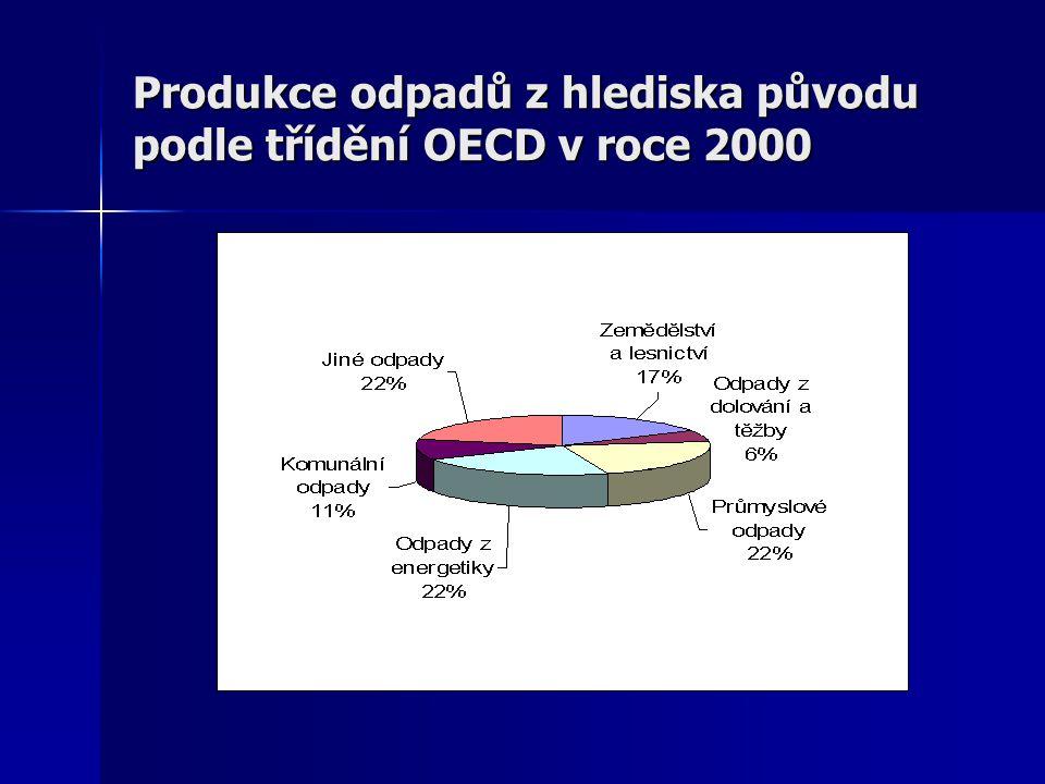 Produkce odpadů z hlediska původu podle třídění OECD v roce 2000