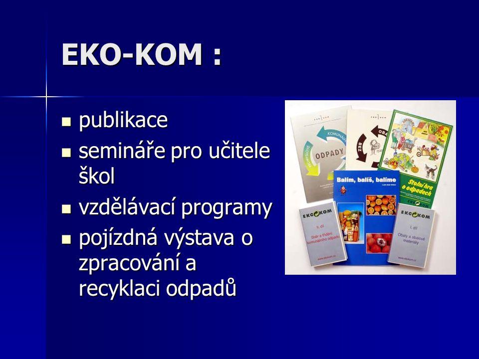 EKO-KOM : publikace publikace semináře pro učitele škol semináře pro učitele škol vzdělávací programy vzdělávací programy pojízdná výstava o zpracován