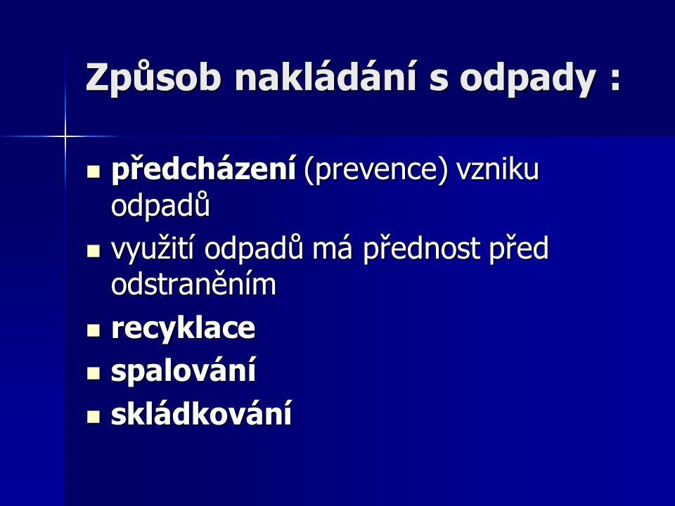 Způsob nakládání s odpady : předcházení (prevence) vzniku odpadů předcházení (prevence) vzniku odpadů využití odpadů má přednost před odstraněním využ