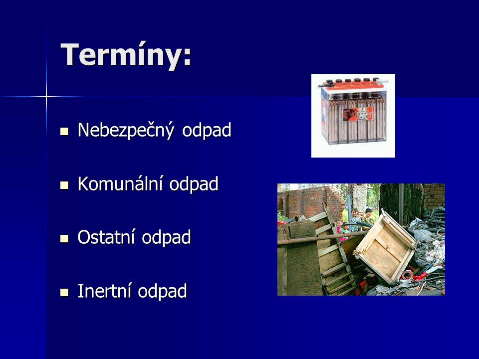 Termíny: Nebezpečný odpad Nebezpečný odpad Komunální odpad Komunální odpad Ostatní odpad Ostatní odpad Inertní odpad Inertní odpad