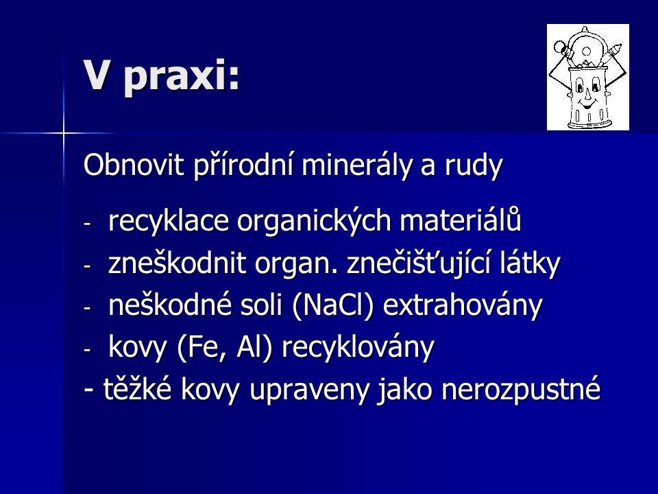 V praxi: Obnovit přírodní minerály a rudy - recyklace organických materiálů - zneškodnit organ. znečišťující látky - neškodné soli (NaCl) extrahovány