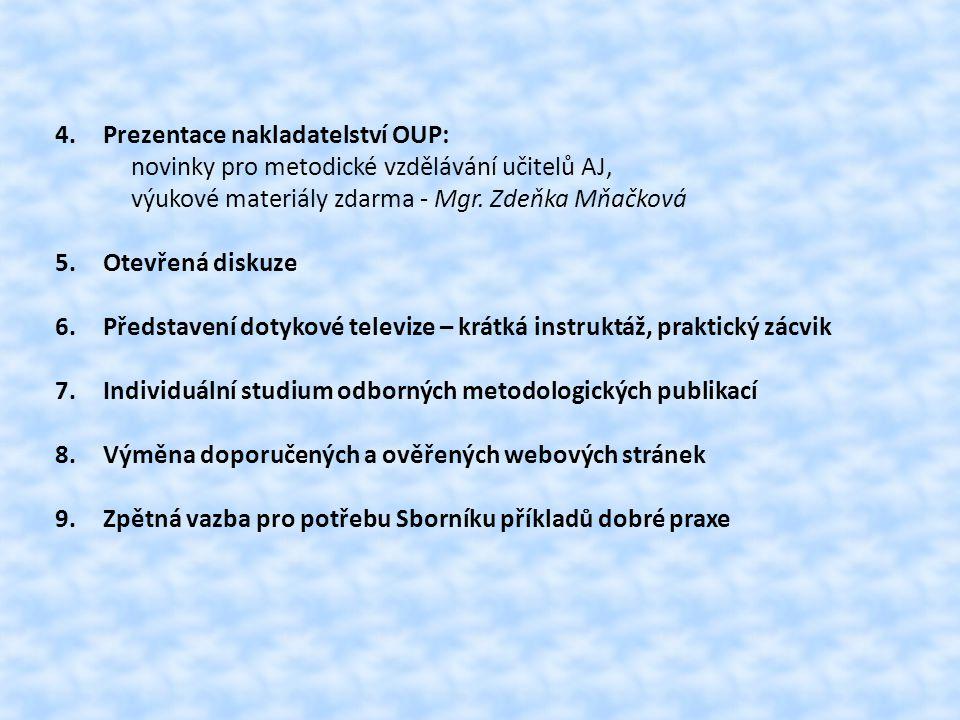 Ukázková hodina 1: - zaměření na metodiku komunikativního jazykového vyučování - představení 22 strategií - každá strategie doprovázena vizuálním stimulem, praktickým cvičením, úkolem, hrou - metody propojení výuky reálií s gramatikou - umění ptát se - využití CD přehrávače, PC, Internetu, TV s dotykovým rámem Ukázková hodina 2: -rodilý mluvčí z New Orleans -zaměřeno na reálie USA -jak se vyrovnat s kulturním šokem -apel na přirozenost situací ve výuce AJ -důležitost vytčeného cíle hodiny