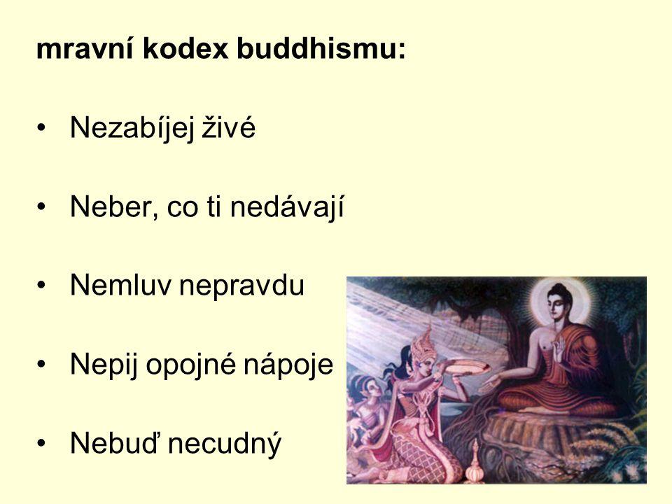 mravní kodex buddhismu: Nezabíjej živé Neber, co ti nedávají Nemluv nepravdu Nepij opojné nápoje Nebuď necudný