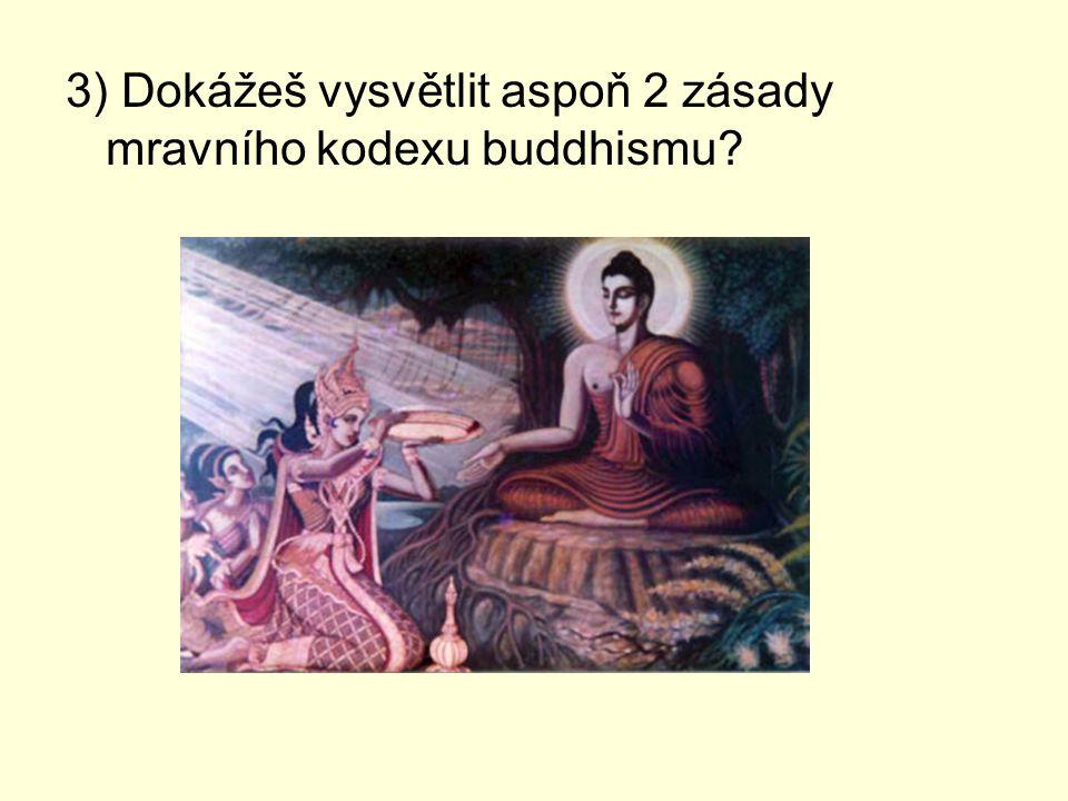 3) Dokážeš vysvětlit aspoň 2 zásady mravního kodexu buddhismu?