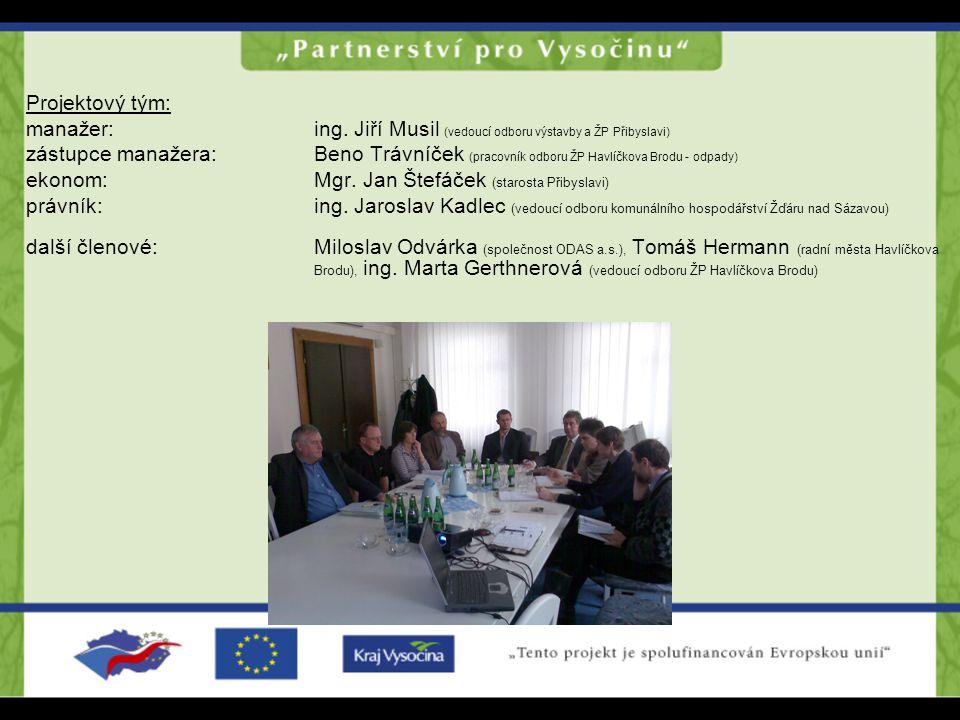 Projektový tým: manažer: ing. Jiří Musil (vedoucí odboru výstavby a ŽP Přibyslavi) zástupce manažera: Beno Trávníček (pracovník odboru ŽP Havlíčkova B