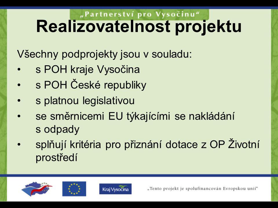 Realizovatelnost projektu Všechny podprojekty jsou v souladu: s POH kraje Vysočina s POH České republiky s platnou legislativou se směrnicemi EU týkaj