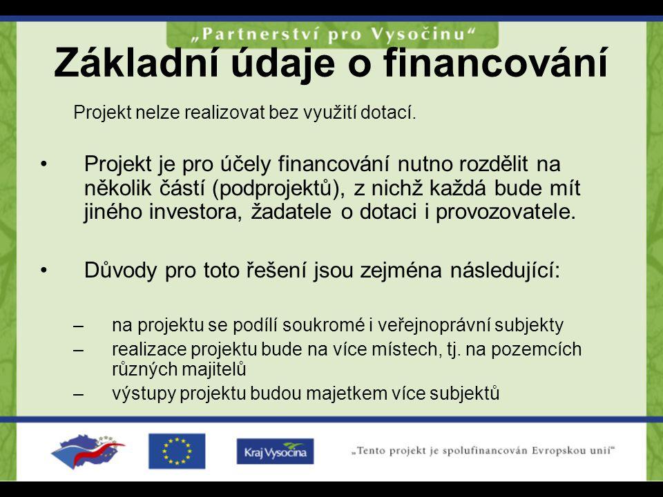 Základní údaje o financování Projekt nelze realizovat bez využití dotací. Projekt je pro účely financování nutno rozdělit na několik částí (podprojekt