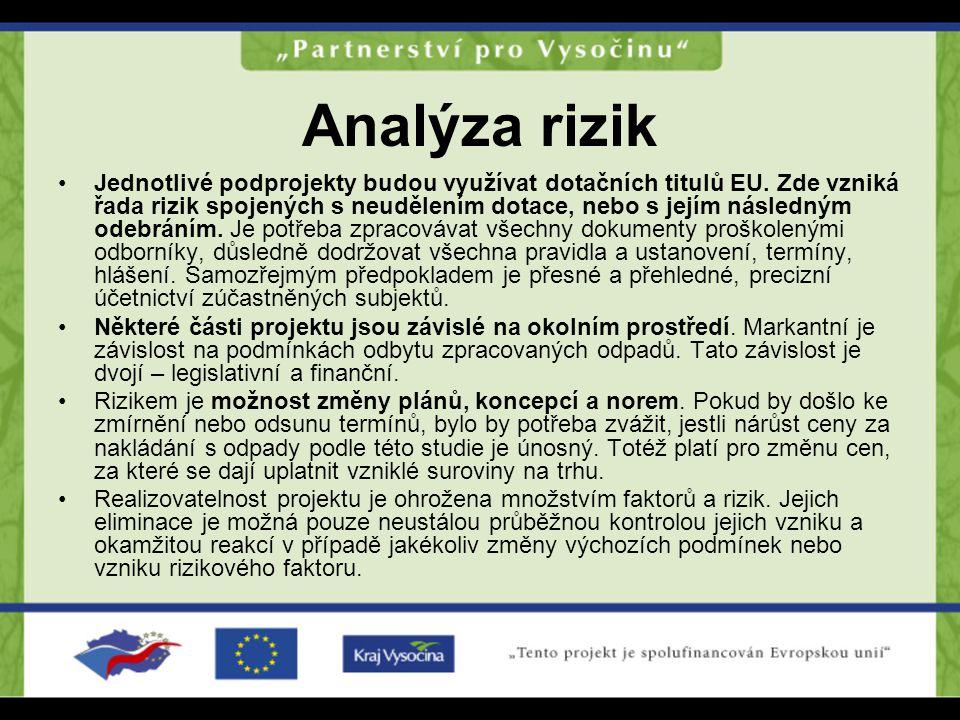 Analýza rizik Jednotlivé podprojekty budou využívat dotačních titulů EU. Zde vzniká řada rizik spojených s neudělením dotace, nebo s jejím následným o