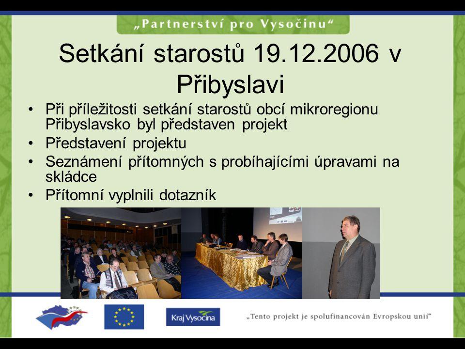 Setkání starostů 19.12.2006 v Přibyslavi Při příležitosti setkání starostů obcí mikroregionu Přibyslavsko byl představen projekt Představení projektu