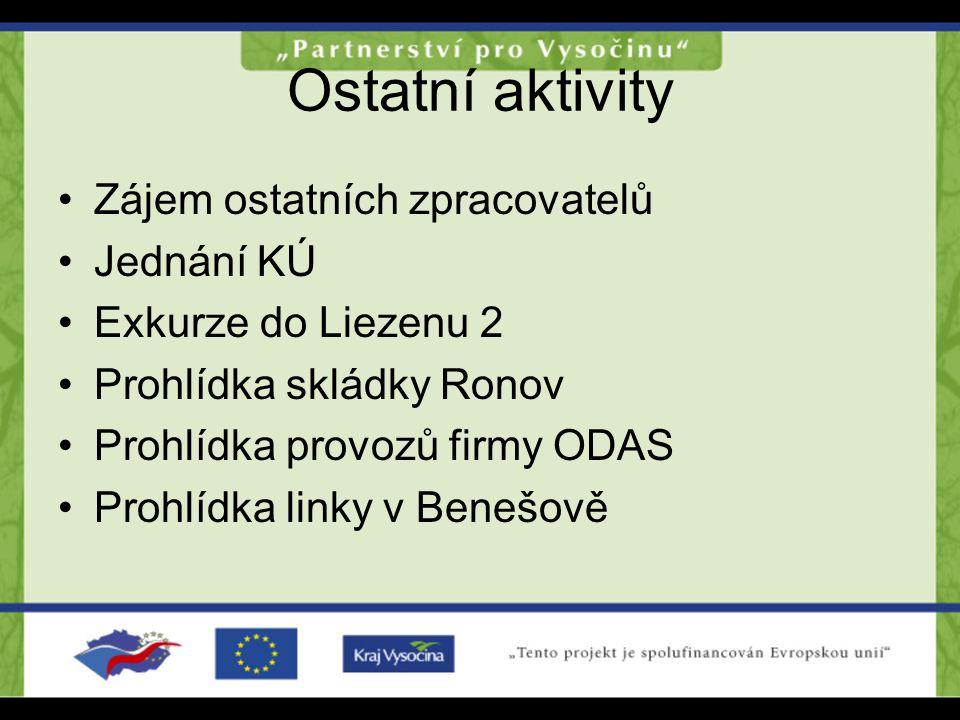Ostatní aktivity Zájem ostatních zpracovatelů Jednání KÚ Exkurze do Liezenu 2 Prohlídka skládky Ronov Prohlídka provozů firmy ODAS Prohlídka linky v B