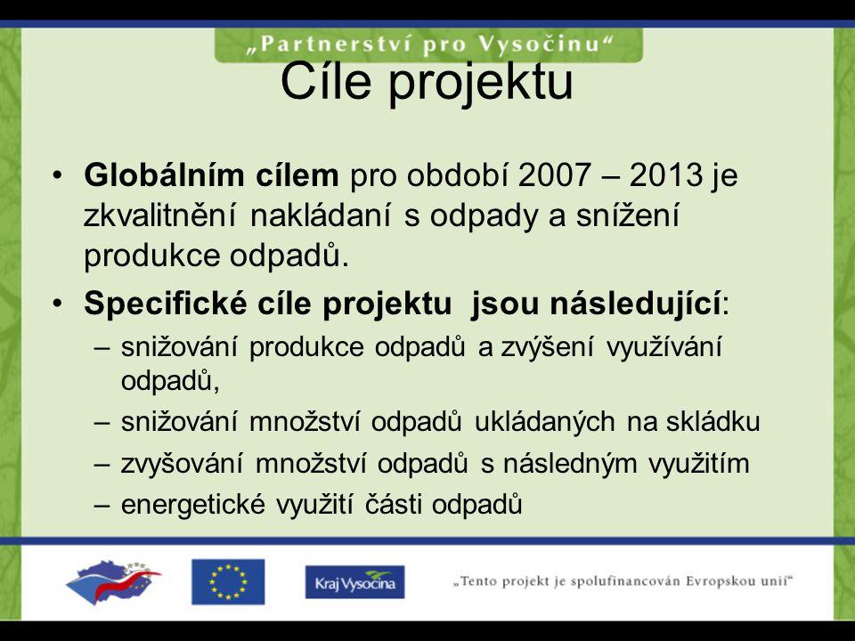 Cíle projektu Globálním cílem pro období 2007 – 2013 je zkvalitnění nakládaní s odpady a snížení produkce odpadů. Specifické cíle projektu jsou násled