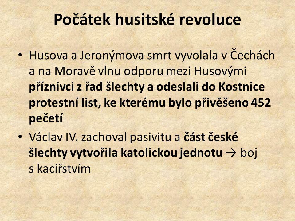 Počátek husitské revoluce Husova a Jeronýmova smrt vyvolala v Čechách a na Moravě vlnu odporu mezi Husovými příznivci z řad šlechty a odeslali do Kostnice protestní list, ke kterému bylo přivěšeno 452 pečetí Václav IV.