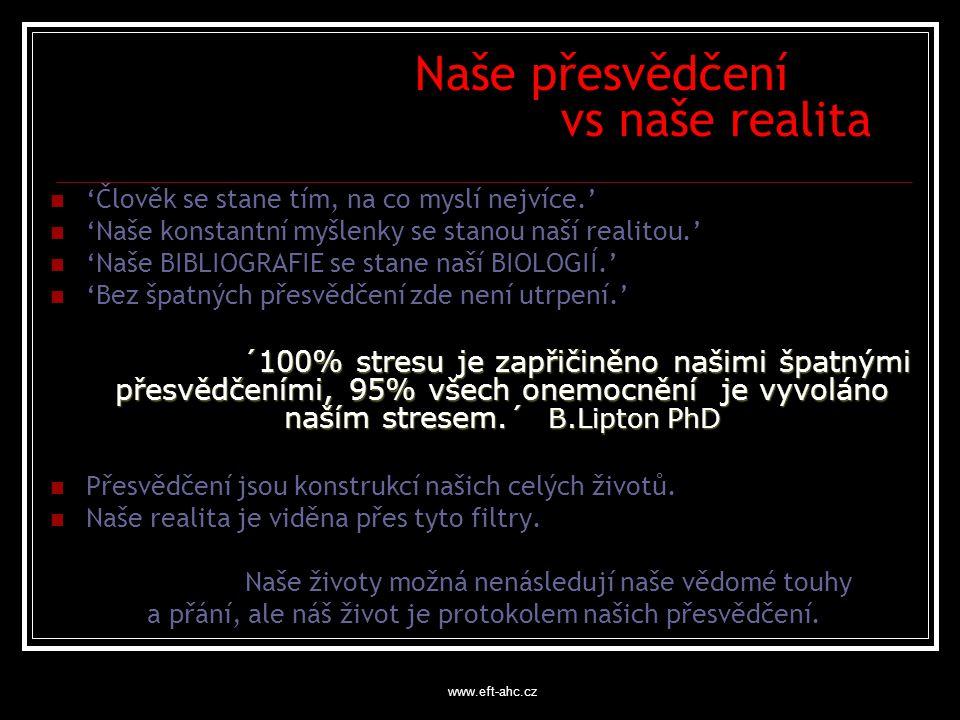 www.eft-ahc.cz Naše přesvědčení vs naše realita 'Člověk se stane tím, na co myslí nejvíce.' 'Naše konstantní myšlenky se stanou naší realitou.' 'Naše BIBLIOGRAFIE se stane naší BIOLOGIÍ.' 'Bez špatných přesvědčení zde není utrpení.' ´100% stresu je zapřičiněno našimi špatnými přesvědčeními, 95% všech onemocnění je vyvoláno naším stresem.´ B.Lipton PhD Přesvědčení jsou konstrukcí našich celých životů.