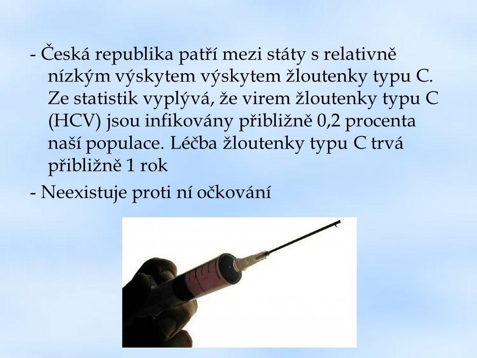 - Česká republika patří mezi státy s relativně nízkým výskytem výskytem žloutenky typu C. Ze statistik vyplývá, že virem žloutenky typu C (HCV) jsou i