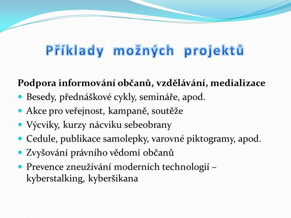 Podpora informování občanů, vzdělávání, medializace Besedy, přednáškové cykly, semináře, apod.