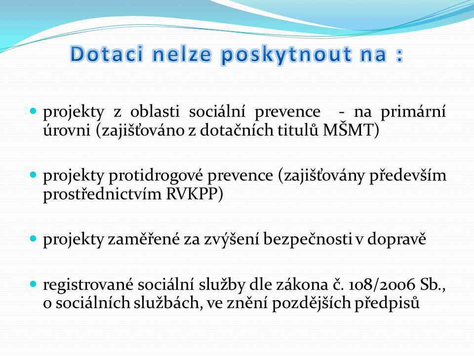 projekty z oblasti sociální prevence - na primární úrovni (zajišťováno z dotačních titulů MŠMT) projekty protidrogové prevence (zajišťovány především prostřednictvím RVKPP) projekty zaměřené za zvýšení bezpečnosti v dopravě registrované sociální služby dle zákona č.