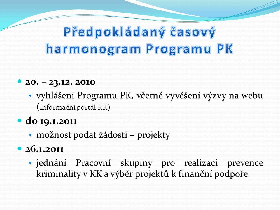 20. – 23.12. 2010 vyhlášení Programu PK, včetně vyvěšení výzvy na webu ( informační portál KK) do 19.1.2011 možnost podat žádosti – projekty 26.1.2011
