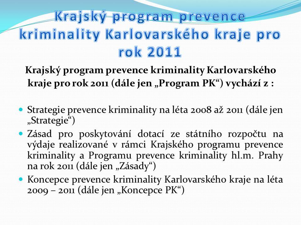 """Krajský program prevence kriminality Karlovarského kraje pro rok 2011 (dále jen """"Program PK ) vychází z : Strategie prevence kriminality na léta 2008 až 2011 (dále jen """"Strategie ) Zásad pro poskytování dotací ze státního rozpočtu na výdaje realizované v rámci Krajského programu prevence kriminality a Programu prevence kriminality hl.m."""
