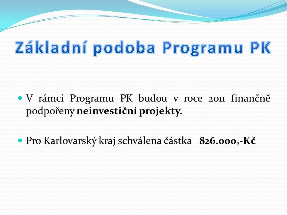 V rámci Programu PK budou v roce 2011 finančně podpořeny neinvestiční projekty. Pro Karlovarský kraj schválena částka 826.000,-Kč