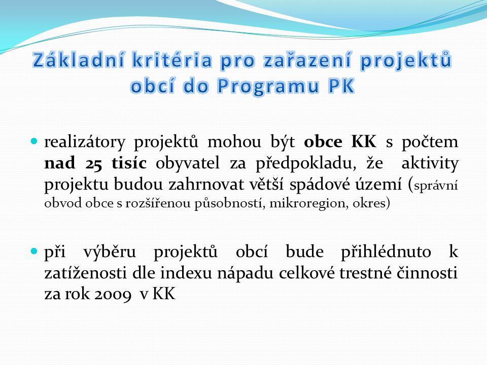realizátory projektů mohou být obce KK s počtem nad 25 tisíc obyvatel za předpokladu, že aktivity projektu budou zahrnovat větší spádové území ( správní obvod obce s rozšířenou působností, mikroregion, okres) při výběru projektů obcí bude přihlédnuto k zatíženosti dle indexu nápadu celkové trestné činnosti za rok 2009 v KK