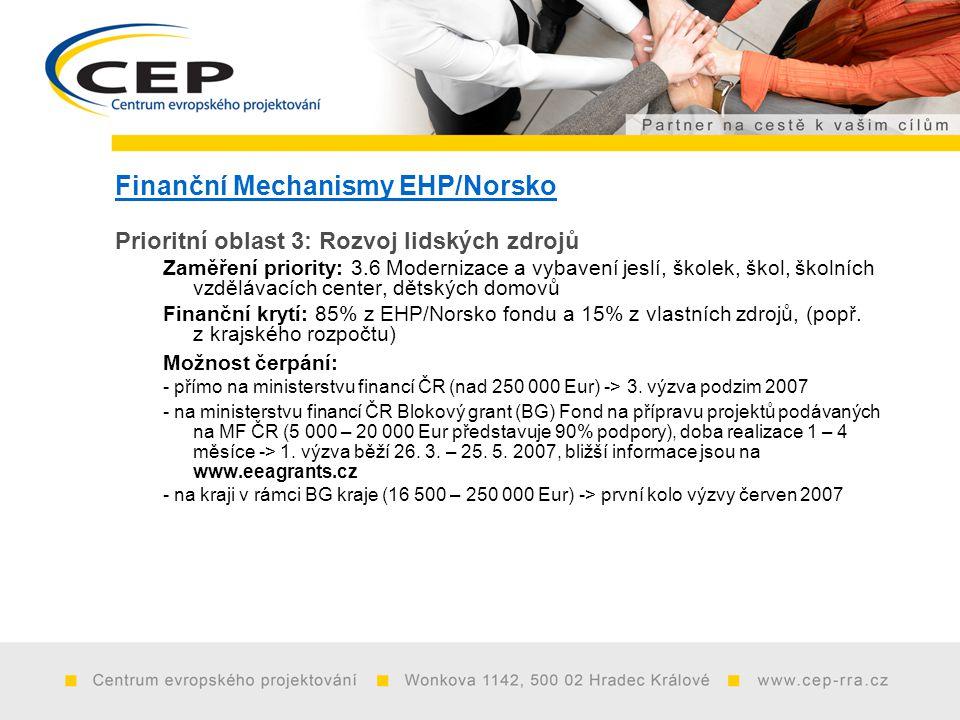 Finanční Mechanismy EHP/Norsko Prioritní oblast 3: Rozvoj lidských zdrojů Zaměření priority: 3.6 Modernizace a vybavení jeslí, školek, škol, školních vzdělávacích center, dětských domovů Finanční krytí: 85% z EHP/Norsko fondu a 15% z vlastních zdrojů, (popř.