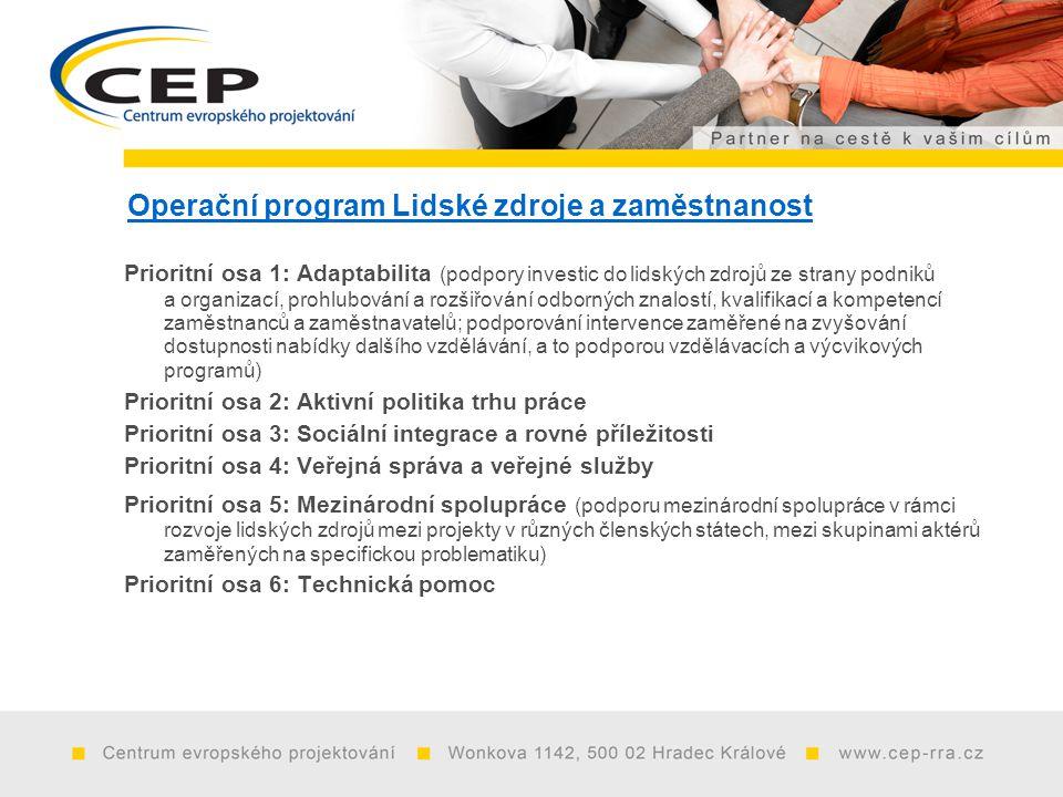 Operační program Lidské zdroje a zaměstnanost Prioritní osa 1: Adaptabilita (podpory investic do lidských zdrojů ze strany podniků a organizací, prohlubování a rozšiřování odborných znalostí, kvalifikací a kompetencí zaměstnanců a zaměstnavatelů; podporování intervence zaměřené na zvyšování dostupnosti nabídky dalšího vzdělávání, a to podporou vzdělávacích a výcvikových programů) Prioritní osa 2: Aktivní politika trhu práce Prioritní osa 3: Sociální integrace a rovné příležitosti Prioritní osa 4: Veřejná správa a veřejné služby Prioritní osa 5: Mezinárodní spolupráce (podporu mezinárodní spolupráce v rámci rozvoje lidských zdrojů mezi projekty v různých členských státech, mezi skupinami aktérů zaměřených na specifickou problematiku) Prioritní osa 6: Technická pomoc
