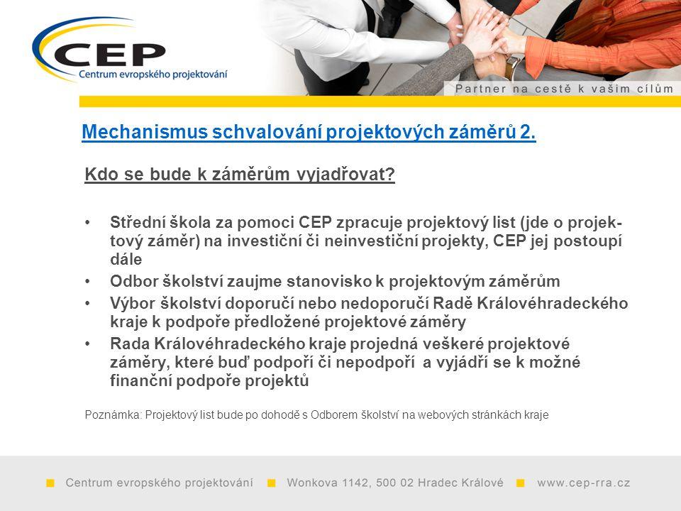 Mechanismus schvalování projektových záměrů 2. Kdo se bude k záměrům vyjadřovat.