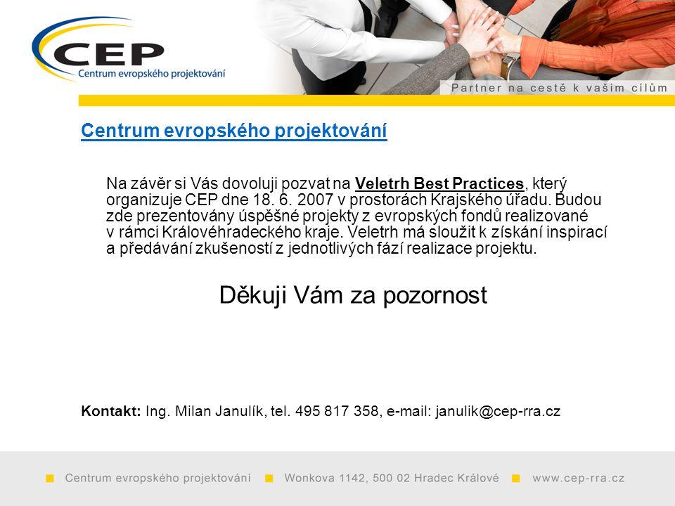 Centrum evropského projektování Na závěr si Vás dovoluji pozvat na Veletrh Best Practices, který organizuje CEP dne 18.