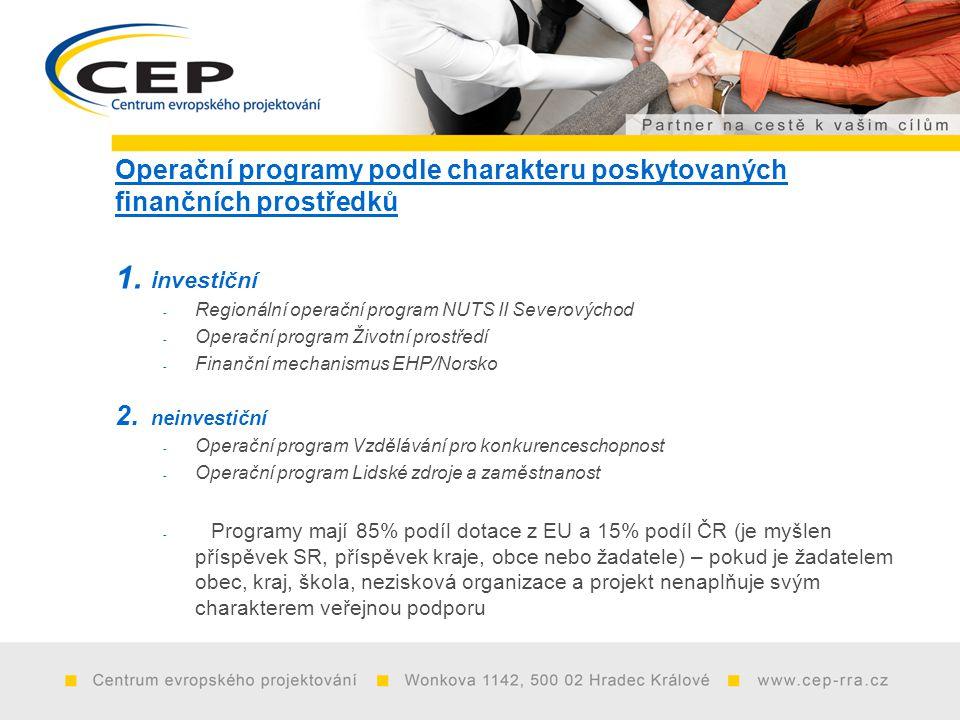 Operační programy podle charakteru poskytovaných finančních prostředků 1.