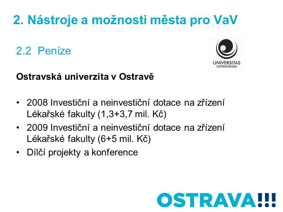 2. Nástroje a možnosti města pro VaV 2.2 Peníze Ostravská univerzita v Ostravě 2008 Investiční a neinvestiční dotace na zřízení Lékařské fakulty (1,3+