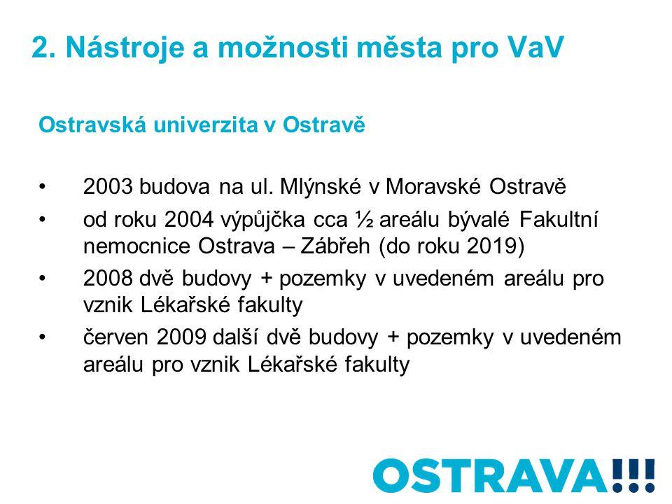2. Nástroje a možnosti města pro VaV Ostravská univerzita v Ostravě 2003 budova na ul.