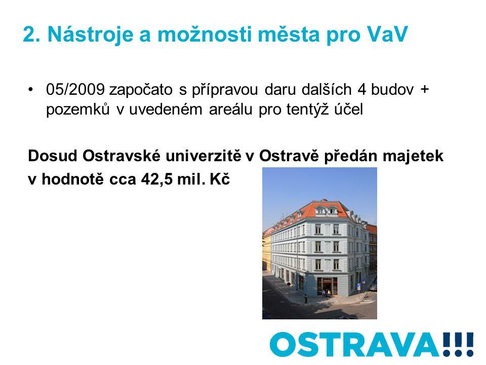2. Nástroje a možnosti města pro VaV 05/2009 započato s přípravou daru dalších 4 budov + pozemků v uvedeném areálu pro tentýž účel Dosud Ostravské uni