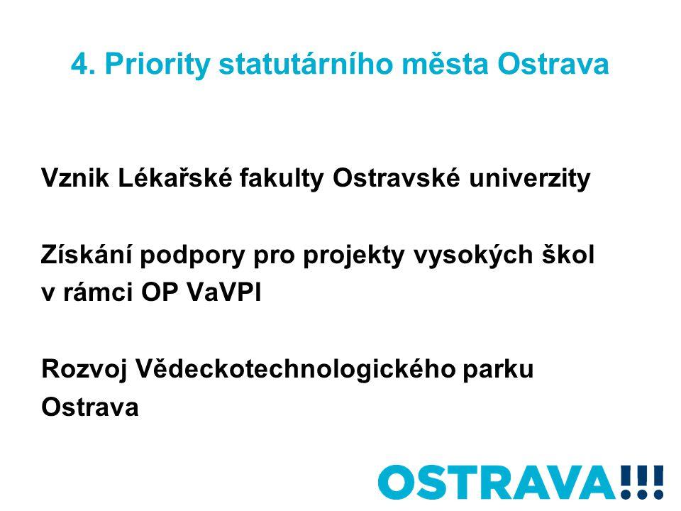 4. Priority statutárního města Ostrava Vznik Lékařské fakulty Ostravské univerzity Získání podpory pro projekty vysokých škol v rámci OP VaVPI Rozvoj