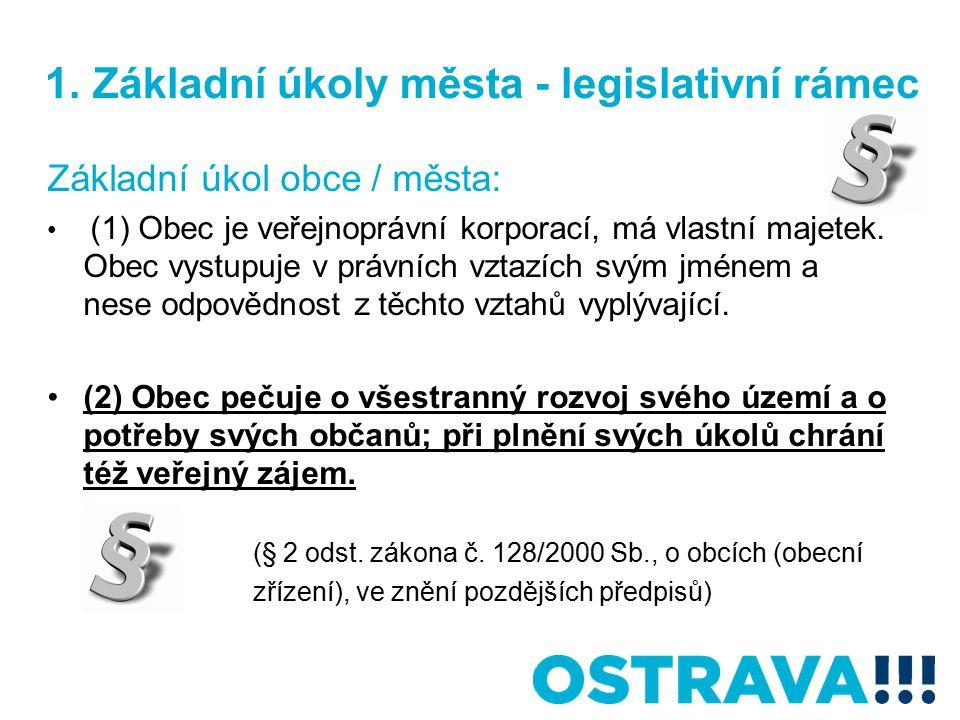 1. Základní úkoly města - legislativní rámec Základní úkol obce / města: (1) Obec je veřejnoprávní korporací, má vlastní majetek. Obec vystupuje v prá