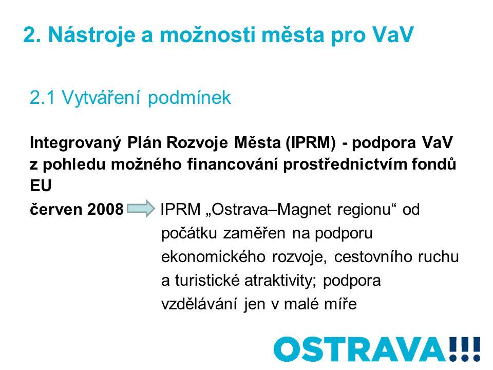 2. Nástroje a možnosti města pro VaV 2.1 Vytváření podmínek Integrovaný Plán Rozvoje Města (IPRM) - podpora VaV z pohledu možného financování prostřed