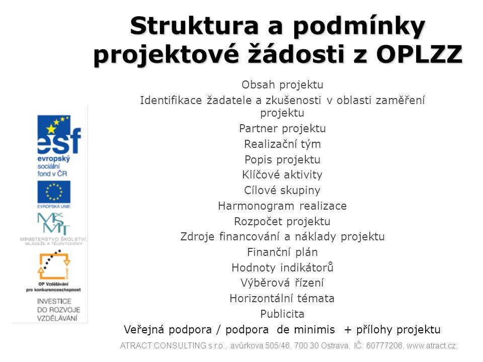 Struktura a podmínky projektové žádosti z OPLZZ Obsah projektu Identifikace žadatele a zkušenosti v oblasti zaměření projektu Partner projektu Realiza