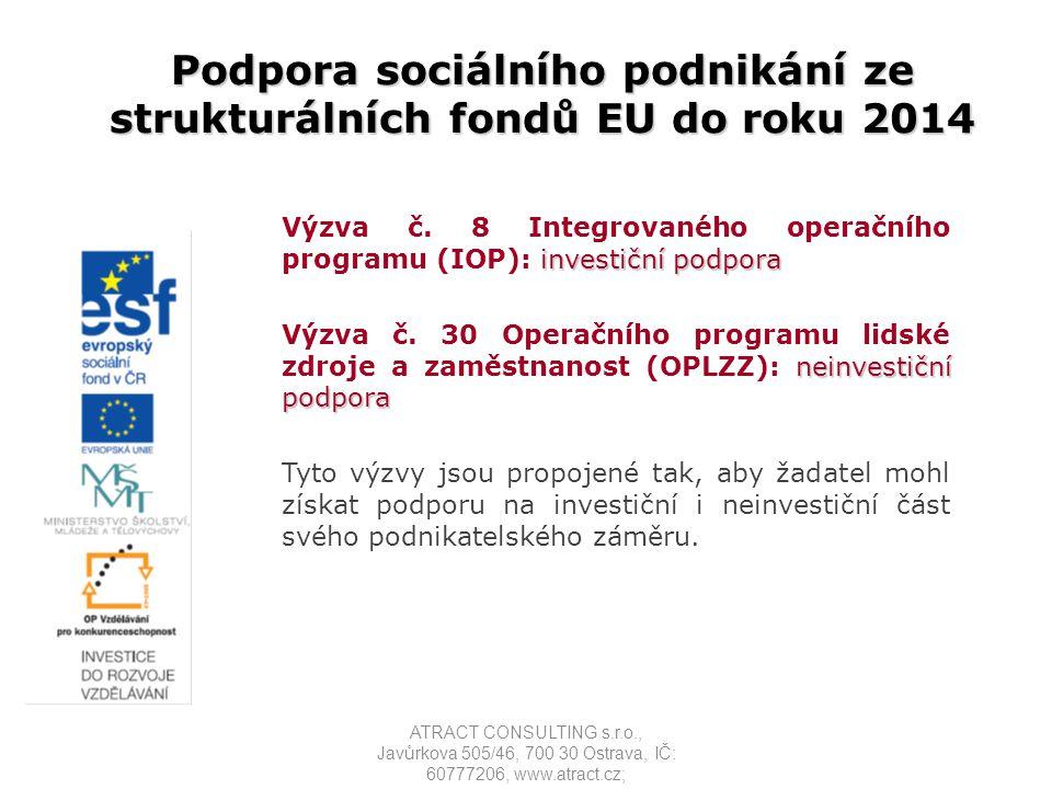 Podporované činnosti Podporované činnosti nové podnikatelské aktivity s cílem zaměstnání osob ze znevýhodněných cílových skupin nové podnikatelské aktivity osob samostatně výdělečně činných (bez zaměstnanců), které jsou zároveň osobami uvedenými v cílových skupinách podnik musí naplňovat principy sociálního podnikání viz.notářský zápis ATRACT CONSULTING s.r.o., Javůrkova 505/46, 700 30 Ostrava, IČ: 60777206, www.atract.cz;