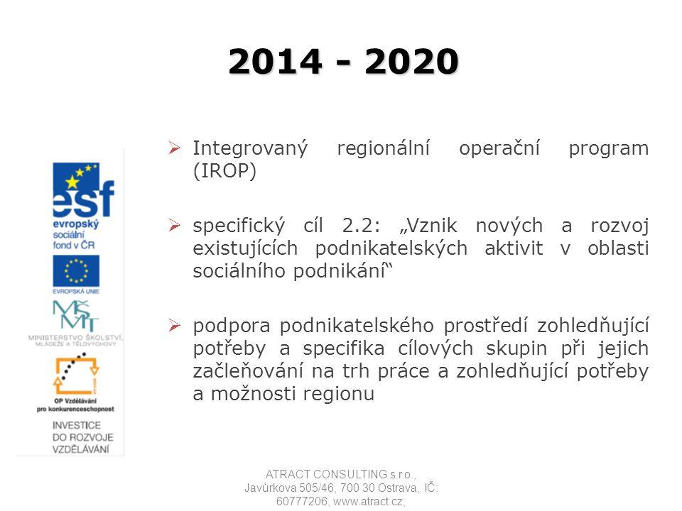"""2014 - 2020  Integrovaný regionální operační program (IROP)  specifický cíl 2.2: """"Vznik nových a rozvoj existujících podnikatelských aktivit v oblas"""